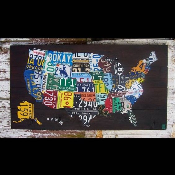 Original United States Map Adventure Road Trip Hiking Awesome - Map license plate us