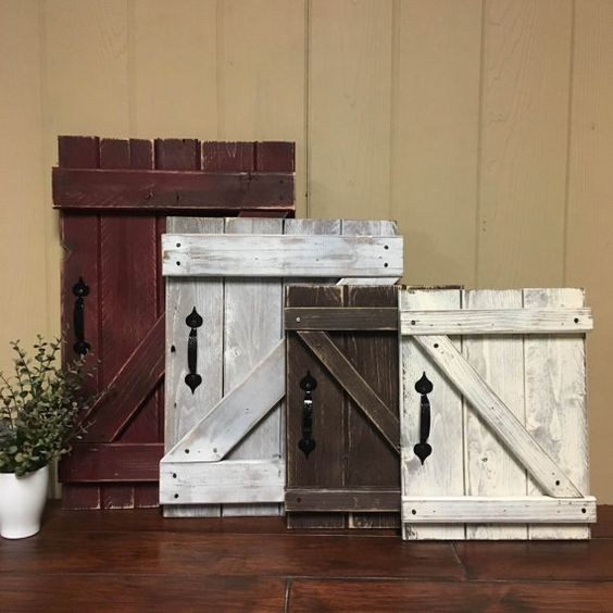 Mini barn door wall hanging rustic gallery by for Door design accessories