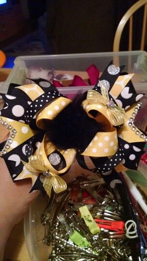 Yellow & Black Boutique Bow
