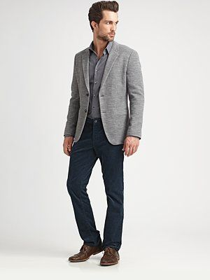 shades of gray blazer and shirt with dark jeans and structured ...