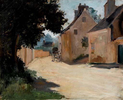 Pierre-Auguste Renoir (French, 1841-1919), Rue de Village, Louveciennes, c. 1871-72. Oil on canvas, 38 x 46 cm.