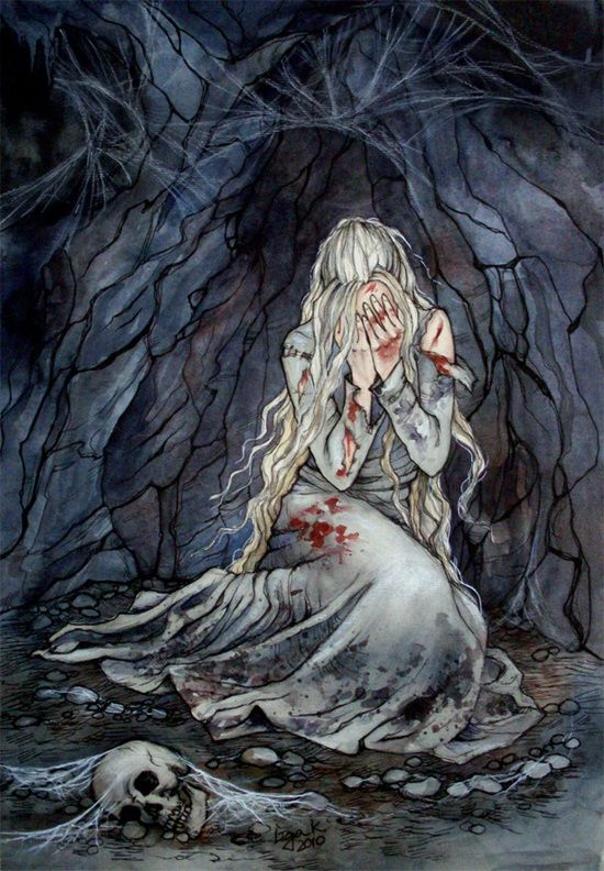 This is such a sad picture of Celebrian's imprisonment!   On a trip from Rivendell to Lórien, she was waylaid by orcs in the Redhorn Pass of the Misty Mountains (Caradhras), captured and tormented, receiving a poisoned wound. Her sons rescued her and she was healed by Elrond, but after horrified and haunted by the fearful memories of her torture she no longer wished to stay in Middle-earth, and passed to the Grey Havens and over the Sea in the following yea