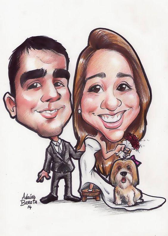 caricatura dos noivos para convites de casamento