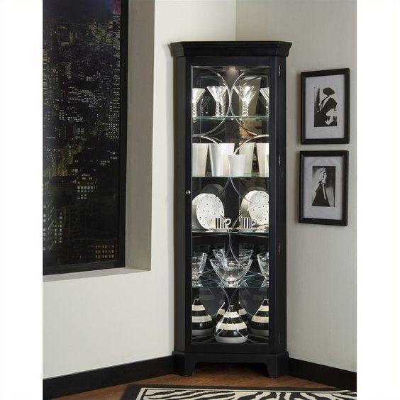 Pulaski Oxford Black Corner Curio Cabinet - 21220