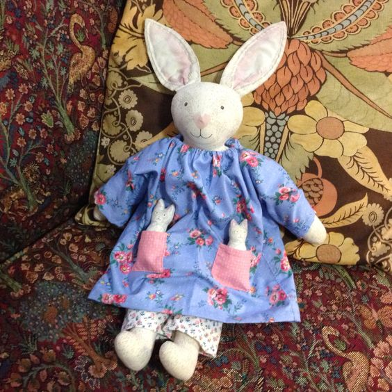 Mother bunny and babies, made from a stamped fabric pattern.  My granddaughters were enchanted!