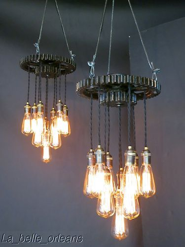 Vintage Industrial Pair of Gear Pendant Lights L K | eBay