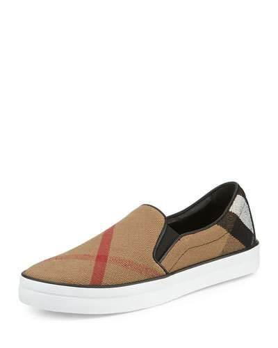 Burberry check canvas skate sneaker with leather piping. 1\u0026quot; flat heel. Round toe