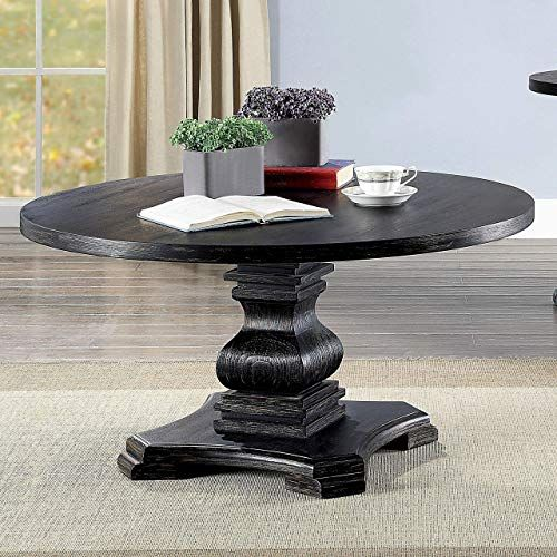New Antique Black Coffee Table Farmhouse Rustic Traditional Round