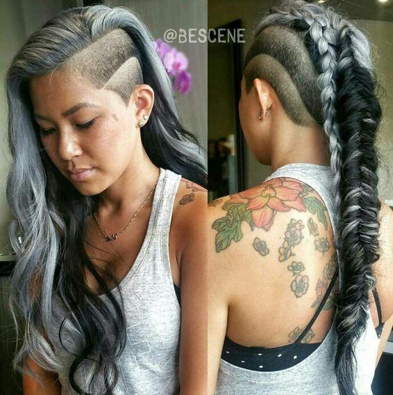 Gray side shave fishtail braid mohawk