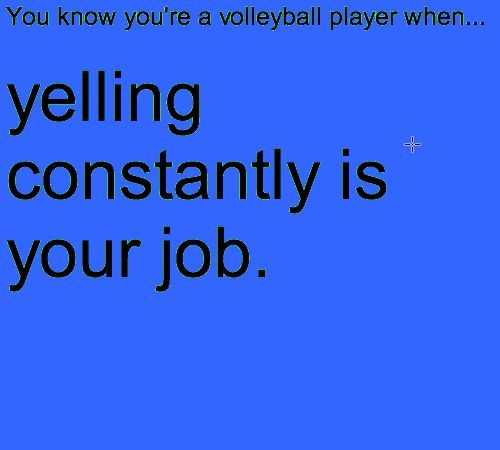 That's why I love volleyball - you get to yell as much as you want and no one cares.