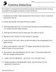 Comma Worksheets Worksheets | Language Arts / Middle School ...