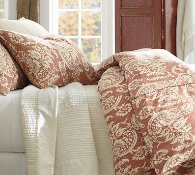 Alessandra Floral Reversible Duvet Cover u0026 Sham - Red #potterybarn, also  come in a