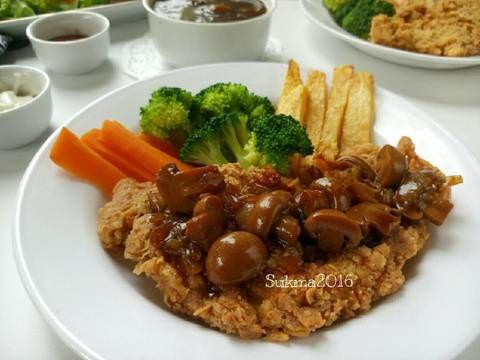 Resep Steak Ayam Crispy Saus Jamur Oleh Sukmawati Rs Resep Resep Steak Jamur Steak