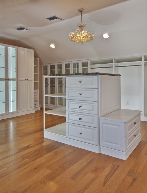 Master Closet White With Island W Bench Lighting Custom Angles Inside Finished Attic Space