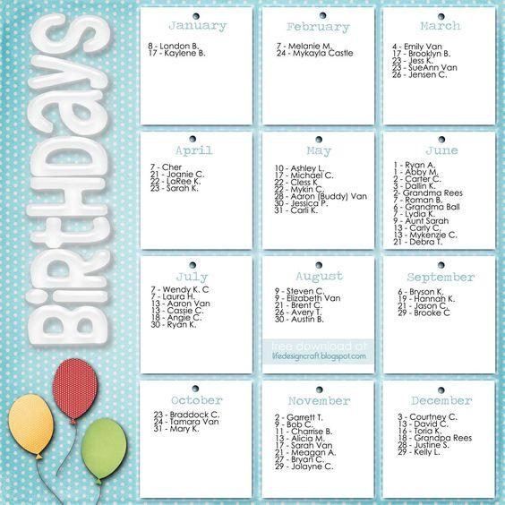 Family Birthday Calendar Template | DIY Ideas | Pinterest ...