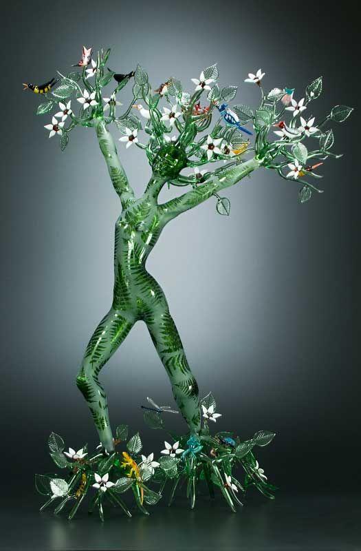 Robert Mickelsen,  Verdant - Lampworked borosilicate glass, sculpted, blown, resist-sandblasted.