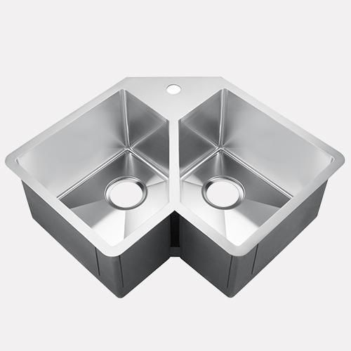 33 Daventry Stainless Steel Double Bowl Corner Kitchen Sink With