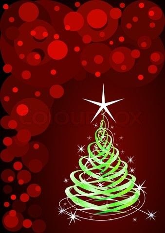 Green christmas tree, red background with stars