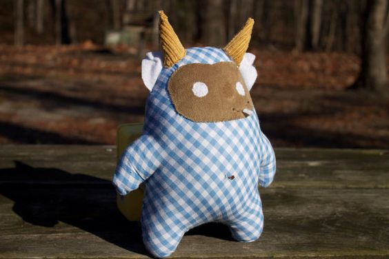 Monster Doll Handmade Toy/ Childrens Stuffed Animal Plush Plaid- Dr. Edwardian III