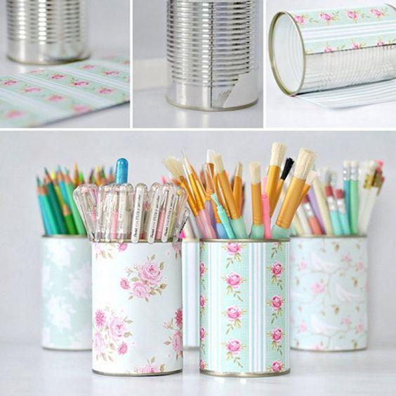 Des boîtes de conserve relookées avec du papier fleuri / DIY, Cans relooked with some flowery paper