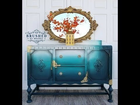Blended Teal And Gold Leaf Buffet With Dixie Belle Paint Youtube Painting Furniture Diy Blue Painted Furniture Stencil Furniture