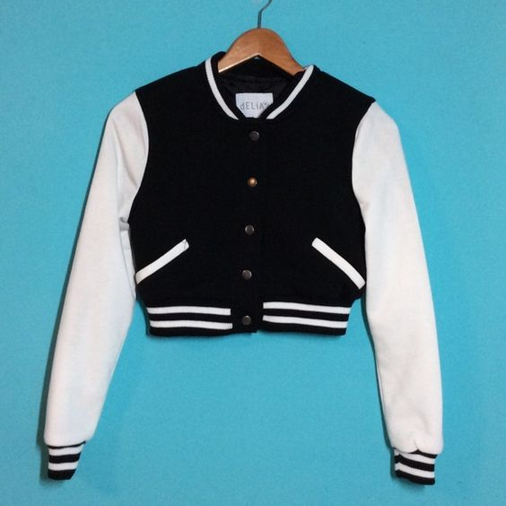 Cropped Black and White Baseball Jacket | Coats, D and Baseball ...