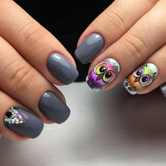 Маникюр с совой: 25 идей дизайна ногтей на фото