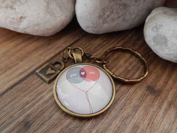Schlüsselanhänger - Cabochon Schlüsselanhänger bronze - You & Me - ein Designerstück von Trullas-Reich bei DaWanda