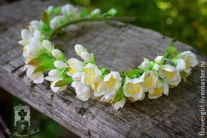 """Диадема """"Jasmine """" - белый,свадебные аксессуары,свадьба,свадебное украшение"""