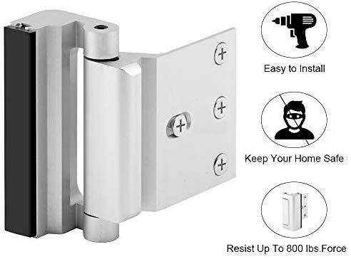 Silver-2 Pack Childproof Door Reinforcement Lock with 3 Stop Withstand 800 lbs for Inward Swinging Door Upgrade Night Lock to Defend Your Home Home Security Door Lock