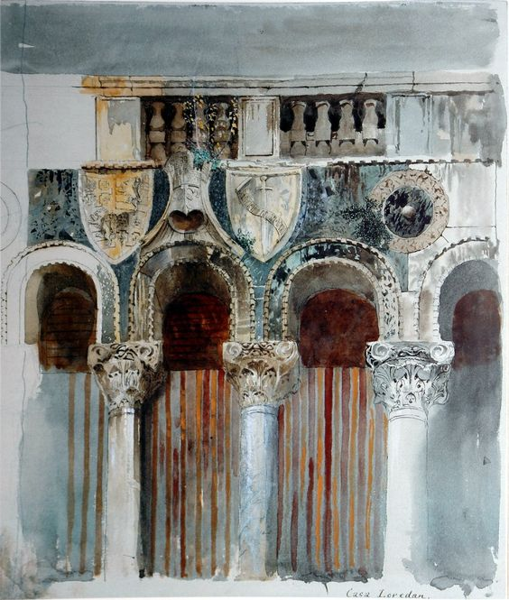 John Ruskin - Study of the Marble Inlaying on the front of the Casa Loredan, Venice