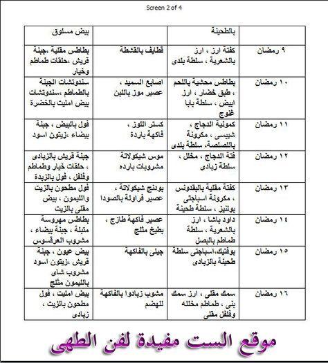 جدول اكلات الاسبوع Google Search Ramadan Health And Fitness Expo Ramadan Recipes
