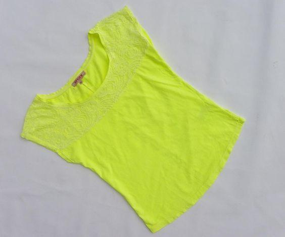 Top Koszulka Neon Koronka roz. 40 Żółta