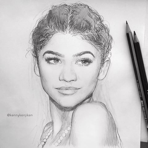 Drawing Zendaya Easy Drawing Zendaya Drawing Easy Zendaya In 2020 Celebrity Drawings Portrait Drawing Easy Drawings
