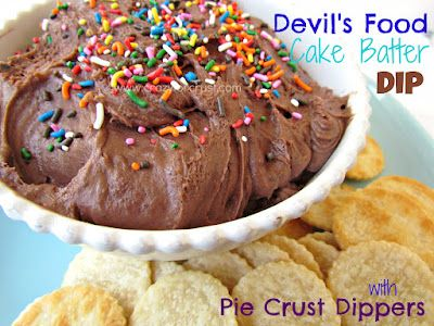 Devil's Food Cake Batter Dip with Pie Crust Dippers! Yumm...