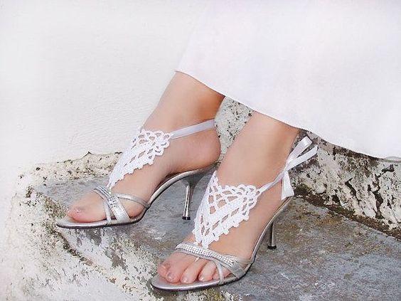 Barefoot Sandals Wedding | White Wedding Crochet Barefoot sandals sandles foot by Lasunka,
