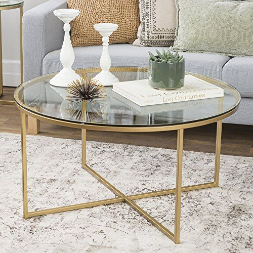 We Furniture 36 Coffee Table With X Base Glass Gold Gold Coffee Table Round Glass Coffee Table Round Gold Coffee Table
