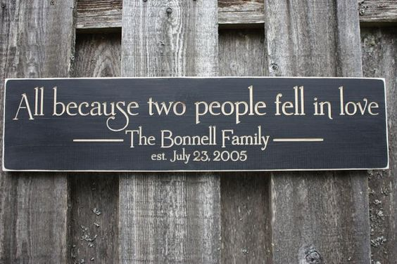 All Because Two People Fell In Love Personalized Family Name Established Sign - 8x30 Wedding Carved Engraved Handpainted Rustic Wooden Sign
