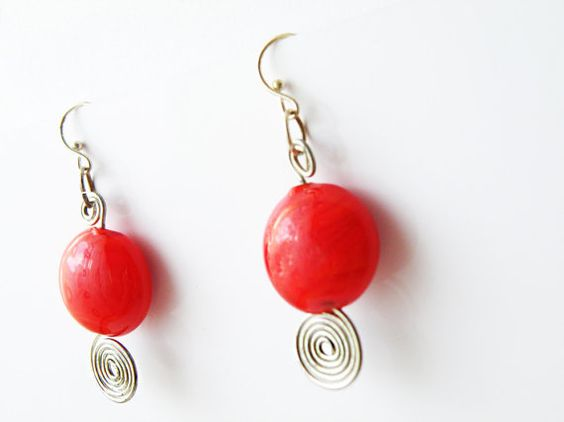 Red Round Glass Beads Hook Earrings Beaded Jewelry by SteamyLab, $20.00