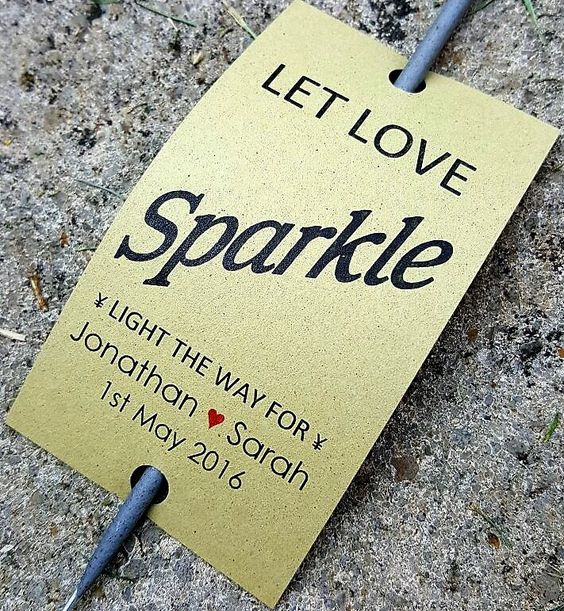 Olive - Personalised Wedding Covers Favour Gift Tags With Sparklers