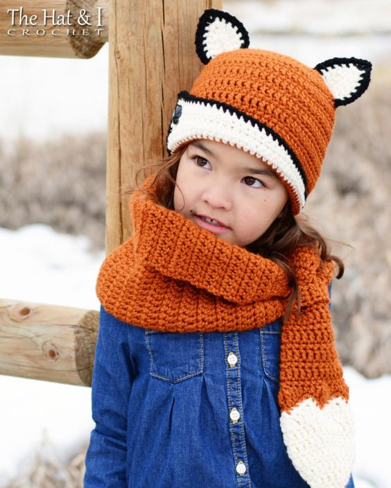 CROCHET PATTERN - Fox Fancy Hat & Cowl - a fox hat pattern and fox cowl pattern in 3 sizes (Toddler, Child, Adult) - Instant PDF Download