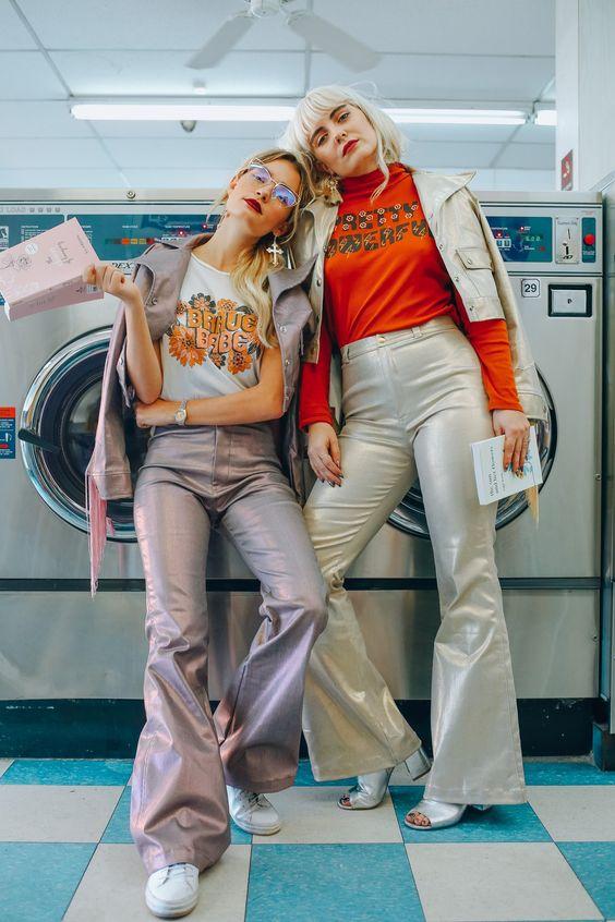 Dazey Ladies - Brave Babe - Pretty Powerful - Metallic Pants and Jacket - Red Lipstick - Vintage Sunglasses - Women's Fashion - Fashion and Lifestyle Photography - Laundromat - Graphic Tee Feminist