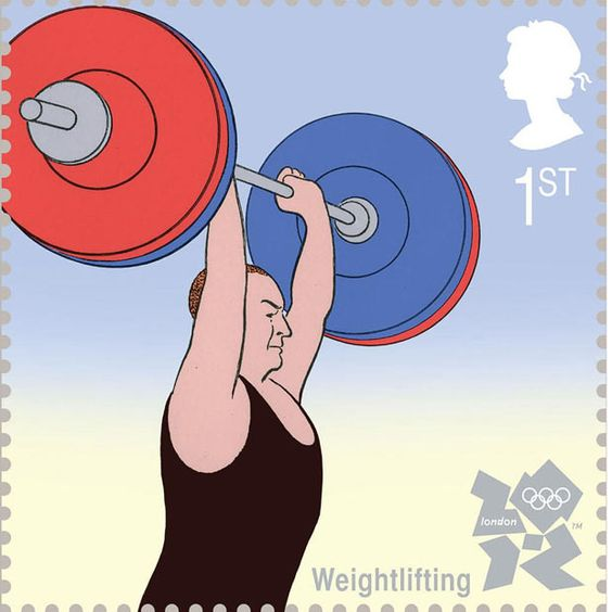 Weightlifting is illustrated by Guy Billout  Royal Mail first class postage stamps launched for London 2012 Olympic Games