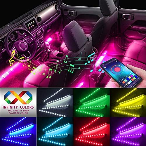 Car Interior Lights Caferria Car Led Strip Light 4pcs 48 Led App Controller Waterproof Multi Diy Color Musi Car Led Lights Car Lights Car Interior Accessories