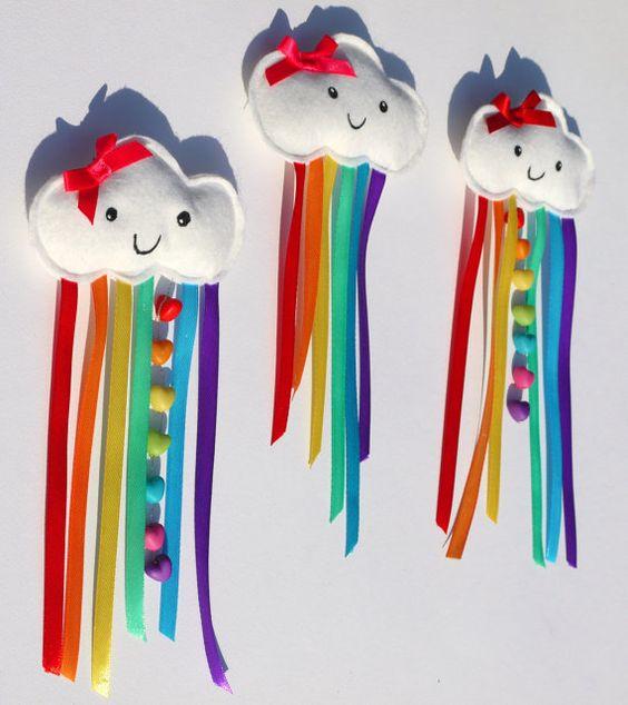 Happy Rainbow Cloud Large Hair Clip Accessory. Rainbow ribbon and heart beads adorn a plush kawaii cloud. Ideal Christmas Stocking filler. on Etsy, $13.22