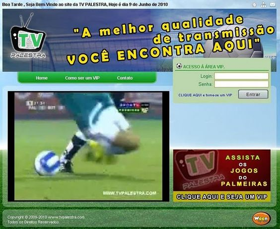 Site TV Palestra, um site antigo onde transmitia apenas jogos do Palmeiras.