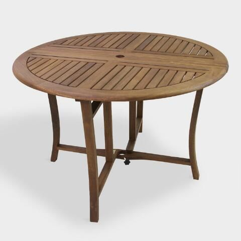 Round Wood Danner Folding Outdoor Dining Table Outdoor Dining