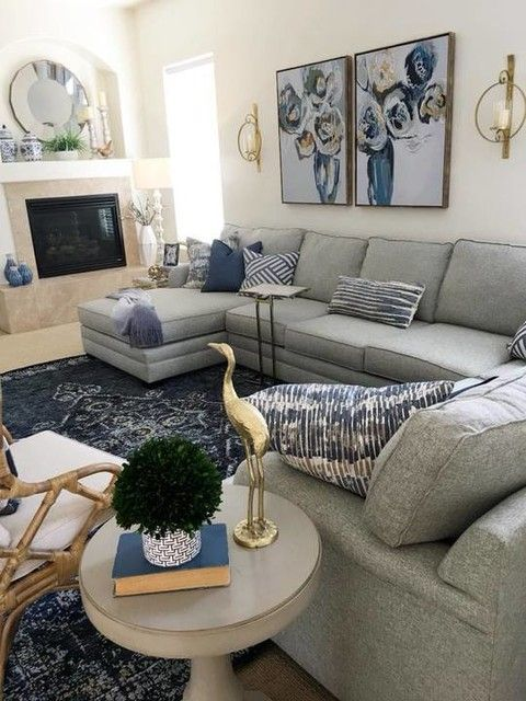41 Grey Elements For Home Give You Peaceful Feelings Home Design Interior Design Grey Design Kitc Blue Living Room Decor Living Room Grey Blue Living Room Peaceful living room decorating ideas