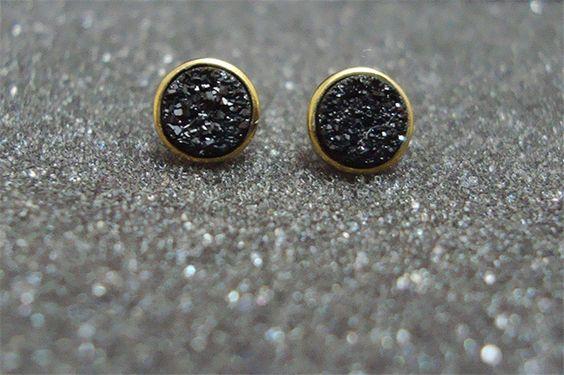 Black Colored Stone Stud Earrings