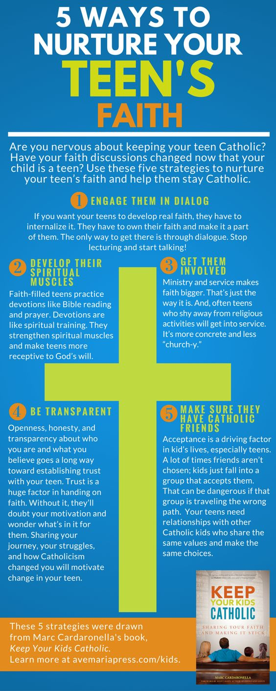 5 Ways to Nuture Your Teen's Faith (Infographic). Inspired by Marc Cardaronella's book, Keep Your Kids Catholic